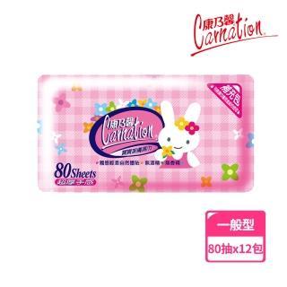 【康乃馨】寶寶潔膚濕巾補充包80片 整箱(兔子;80片/包;12包/箱)