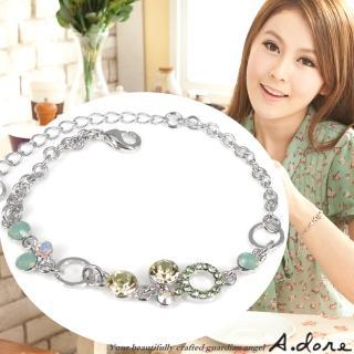 【A.dore】煥采普普圓˙水晶鑽飾手鍊(銀白K˙綠蛋白鑽)
