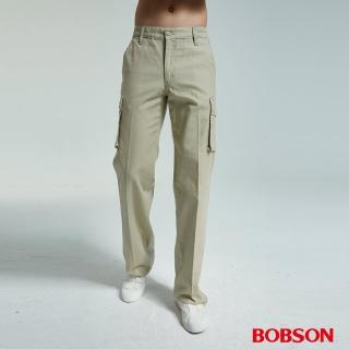 【BOBSON】男款休閒百搭側口袋直筒褲(卡其72)