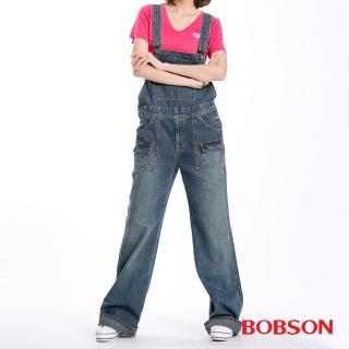 【BOBSON】女款低腰刷白牛仔吊帶長褲(藍53)