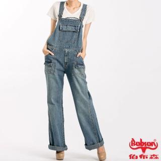 【BOBSON】女款低腰刷白牛仔吊帶長褲(淺藍58)