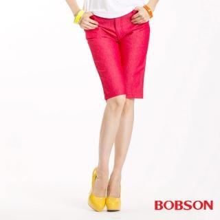 【BOBSON】女款色布伸縮五分褲(紅103-13)