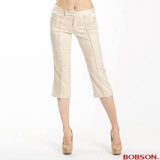 ~BOBSON~女款伸縮八分色褲 卡其108~71