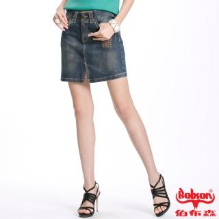 【BOBSON】女款車縫線牛仔短裙(藍53)