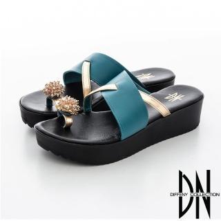 【DN】華麗饗宴 亮眼造型繡球皮飾指環拖鞋(藍)