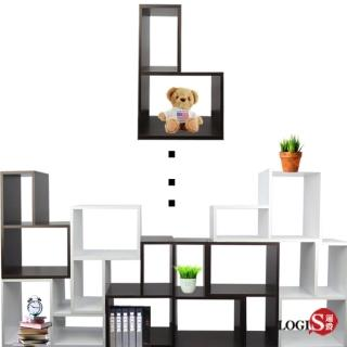 【LOGIS】Tetris創意拼圖組合櫃4入(胡桃/白色)