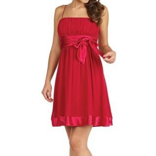 【摩達客】美國進口Landmark細肩帶深桃紅漸層浪漫百褶紗裙派對小禮服/洋裝(含禮盒)