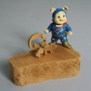 【MU LIFE荒木藝品雕刻】忍者豬memo架、名片架