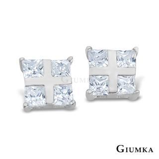 【GIUMKA】晶亮十字夾鑽耳環 925純銀  抗敏耳針式耳環 MF00092-1(白色)
