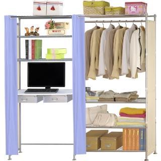 【巴塞隆納】W4型90公分+E90公分電腦桌衣櫥架