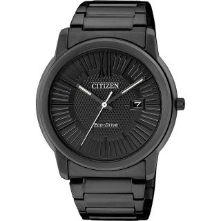 【CITIZEN】Eco-Drive 時尚都會大三針腕錶-IP黑/42mm(AW1215-54E)