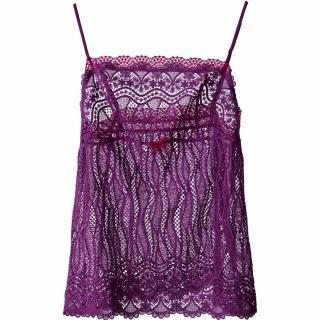 【Lofan露蒂芬】薄紗刺繡睡襯衣-紫(IC0902-PUR)
