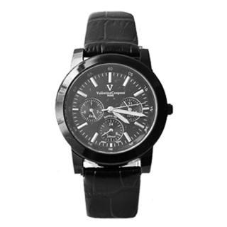 【范倫鐵諾˙古柏】全黑真三眼設計皮革手錶 藍寶石水晶 原廠公司貨