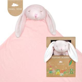 【美國 Angel Dear】大頭動物嬰兒毛毯禮盒(粉紅小兔-粉粉)