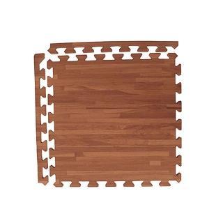 【新生活家】耐磨拼花木紋地墊(深色45x45x1.2cm12入附邊條)