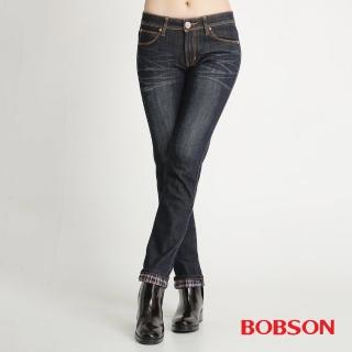 【BOBSON】女款熱感IN小直筒牛仔(藍52)