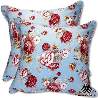 【M.B.H─玫瑰花園】純棉防潑水抱枕(藍2入)