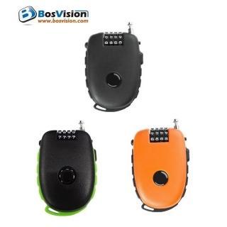 【BOSVISION 博士威】多功用4字輪伸縮式鋼索密碼鎖+90公分鋼索(981)