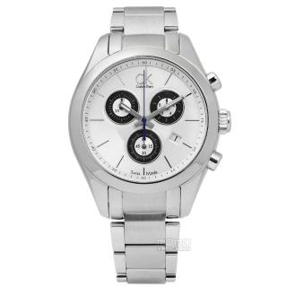 【Calvin Klein】時尚都會三環計時不鏽鋼手錶 銀色 39mm(K0K28120)