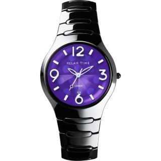 【Relax Time】Sweet Candy 甜心點點女孩陶瓷腕錶-紫x黑/37mm(RT-26-39)