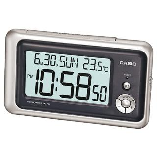 【CASIO 卡西歐】多功能輕便數位電子溫度鬧鐘(銀灰-DQ-748-8DF)