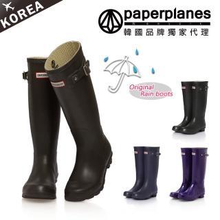 【PAPERPLANES韓國休閒鞋】高磅數橡膠時尚簡約防水高筒雨靴(7-1193/現貨)