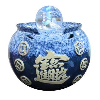 【瑰麗寶】中型招財進寶雷射流水8cm滾球組-湛藍﹍再送鹽燈X1組