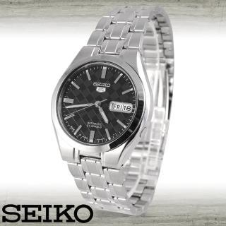 【SEIKO 精工】日製時尚-棋盤格紋款/機械男錶(SNKG13J1)