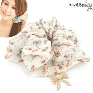 【Angel Rena】微風花語蝴蝶結墜飾大腸圈髮束(溫柔杏)