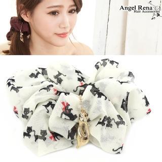 【Angel Rena】貓咪樂園墜飾大腸圈髮束(米杏色)