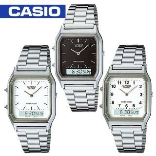 【CASIO 卡西歐】日系復刻版-銀色雙顯中性錶(AQ-230A)