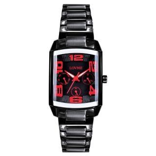 【LOVME】魔幻立體空間時尚腕錶(IP黑x紅刻度)