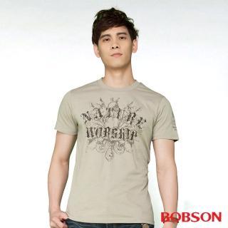 【BOBSON】男款合身版印圖短袖上衣(卡其24025-72)