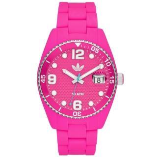 【adidas】菱格靚彩活力時尚玻麗腕錶-螢光桃紅(ADH6162)