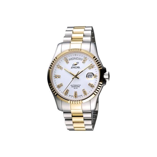 【ENICAR】英納格 自動系列璀燦晶鑽機械腕錶-白x雙色版/40mm(3169-50-330G)