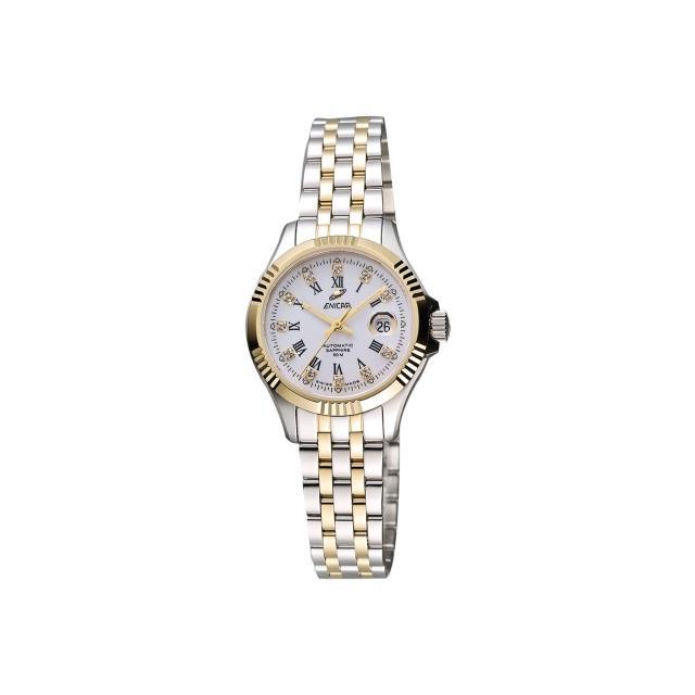 【ENICAR】英納格 自動系列璀燦晶鑽機械女錶-白x雙色版/28mm(778-50-329G)最新優惠
