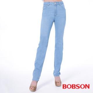 【BOBSON】女款高腰膠原蛋白直筒褲(淺藍8082-58)