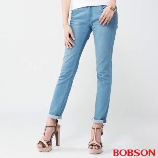 ~BOBSON~女款膠原蛋白小直筒褲 淺藍8080~58
