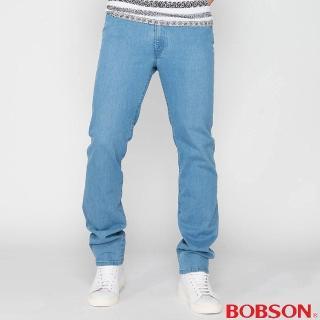 【BOBSON】男款高腰膠原蛋白彈性直筒褲(淺藍1791-58)