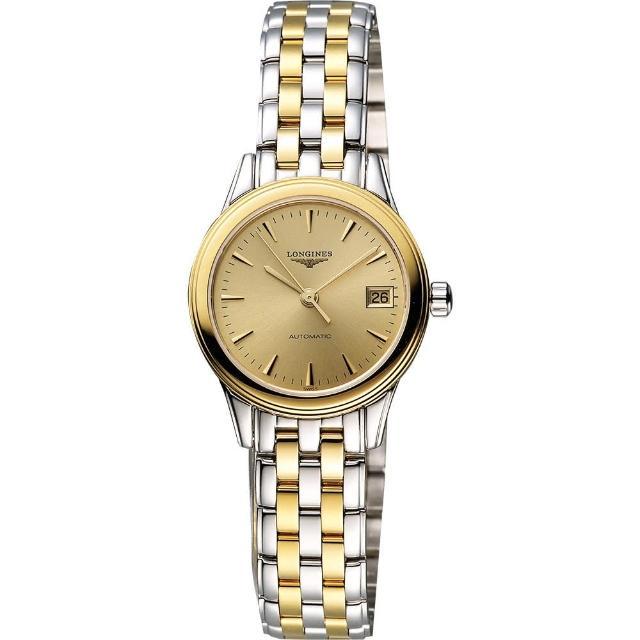 【LONGINES】旗艦系列經典光輝機械女錶-金x雙色版/26mm(L42743327)/