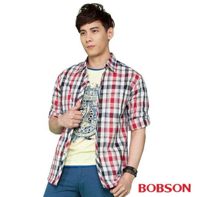 【BOBSON】男款七分袖腰身格紋襯衫(紅24004-13)限時優惠