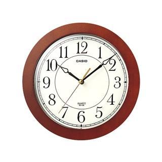 【CASIO 卡西歐】復古時尚木紋掛鐘(咖啡x白)
