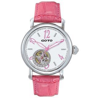 【GOTO】閃耀的烙印裸空機械時尚腕錶-白x粉紅刻度(GL0383M-28-281)