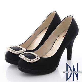 【DN】經典花漾 璀璨水鑽飾扣金蔥新娘跟鞋(黑)