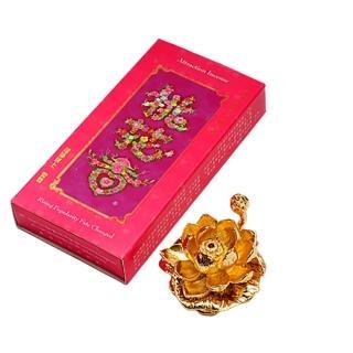 【十方佛教文物】桃花香4吋線香+金蓮花插香座