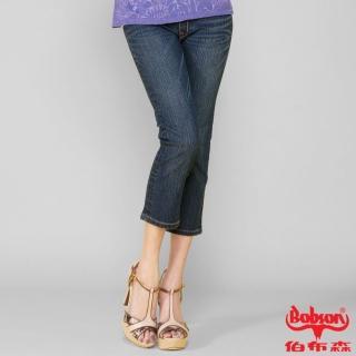 【BOBSON】女款鑽飾牛仔七分褲 藍209-52