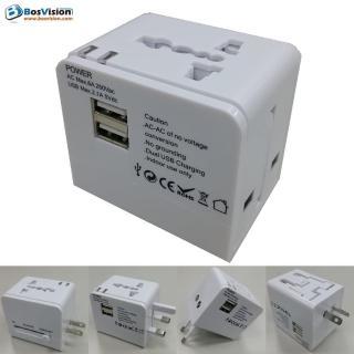 【BOSVISION 博士威】白色2.1A 雙USB 旅行萬用轉接頭 / 轉接插頭 / 萬用插頭 / 電源轉換頭