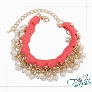 【伊飾童話】緞帶珍珠*金屬交錯手鍊/粉
