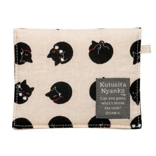 【San-X】小襪貓貓咪黑圓點系列棉布面紙小物收納袋(米)