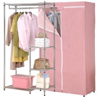 【克諾斯】90*45*180五層防塵衣櫥架(粉紅點點)